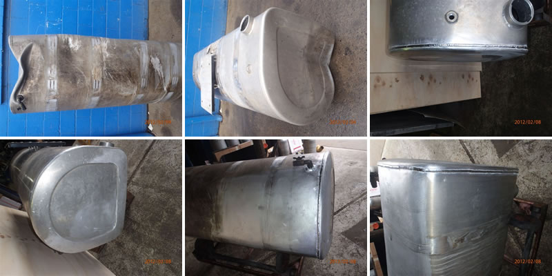 Welded and repaired fuel tank